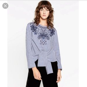 Zara embroidered blue striped long sleeve shirt.